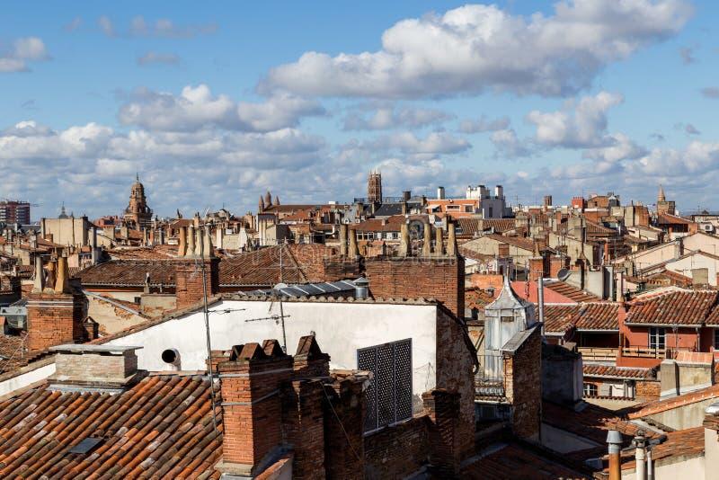 图卢兹屋顶在法国 图库摄影