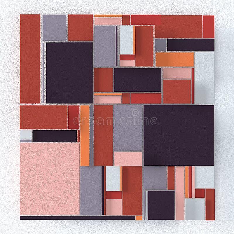 四边形抽象背景,与纹理的三维图象 皇族释放例证