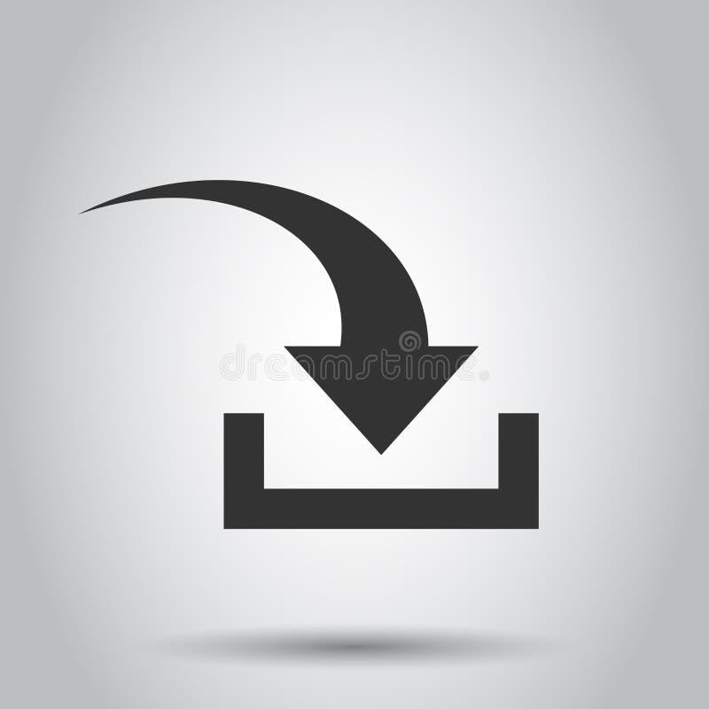 Ściąganie kartoteki ikona w mieszkanie stylu Strzała puszek ściąga wektorową ilustrację na białym tle Ściąganie biznesu pojęcie ilustracja wektor