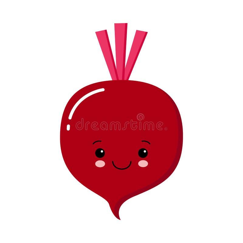 Śliczna Ćwikłowa ikona Czerwoni beetroot Jarzynowa kolekcja Świeży rolny zdrowy jedzenie uśmiechnięta twarz Kawaii vegetadle ilustracja wektor