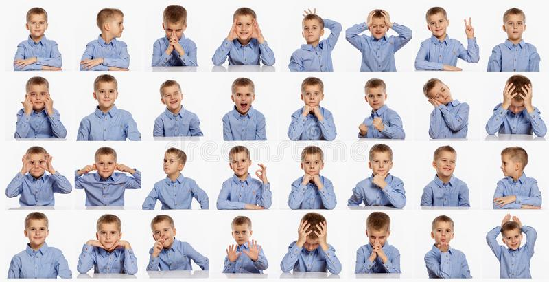 Śliczna chłopiec, set różne emocje, kolaż na białym tle fotografia stock