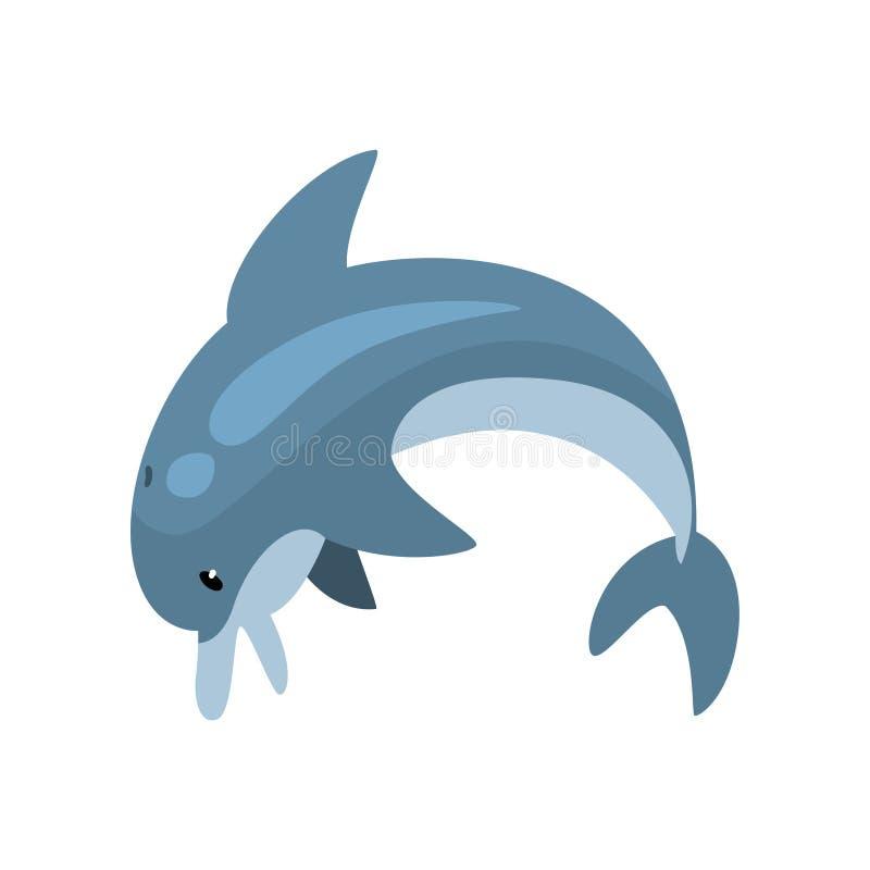 Śliczna delfin kreskówki Dennego zwierzęcia Skokowa Wektorowa ilustracja ilustracji