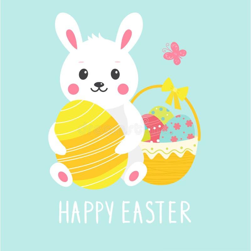 Śliczna Easter karta z królikiem, jajkami i koszem, ilustracja wektor