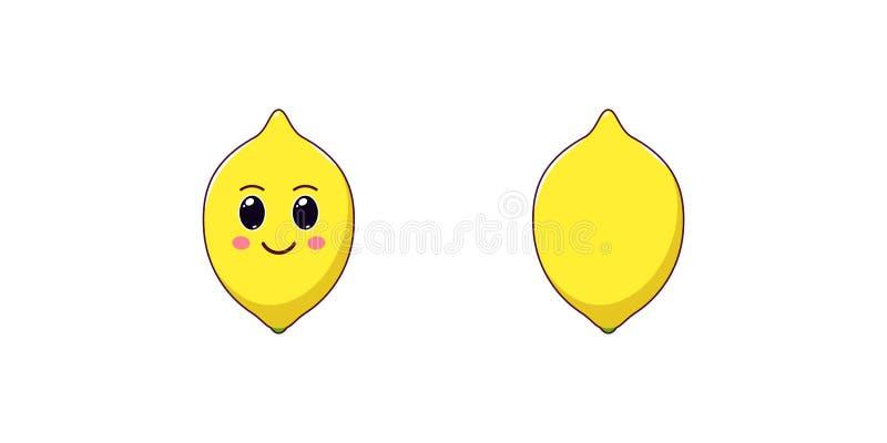 Śliczna Kawaii cytryna, kreskówki Dojrzała owoc wektor ilustracji