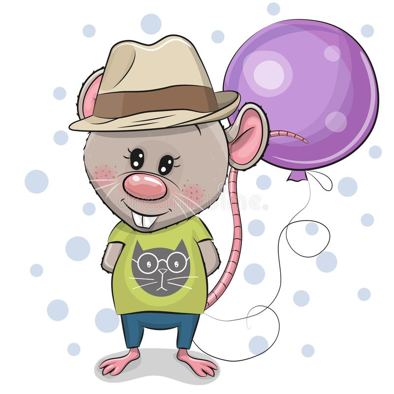 Śliczna kreskówka szczura chłopiec z balonem ilustracja wektor