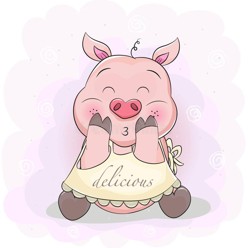 Śliczna kreskówki świnia z fartuchem royalty ilustracja