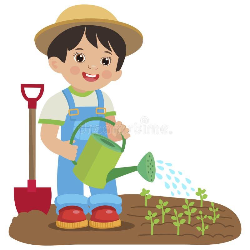 Śliczna kreskówki chłopiec Z podlewanie puszką Młody średniorolny działanie w ogródzie ilustracji