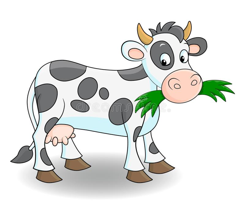 Śliczna kreskówki krowy łasowania trawa royalty ilustracja
