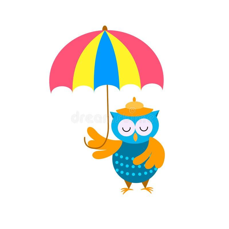 Śliczna kreskówki sowa w kapeluszu pod parasolem ilustracji