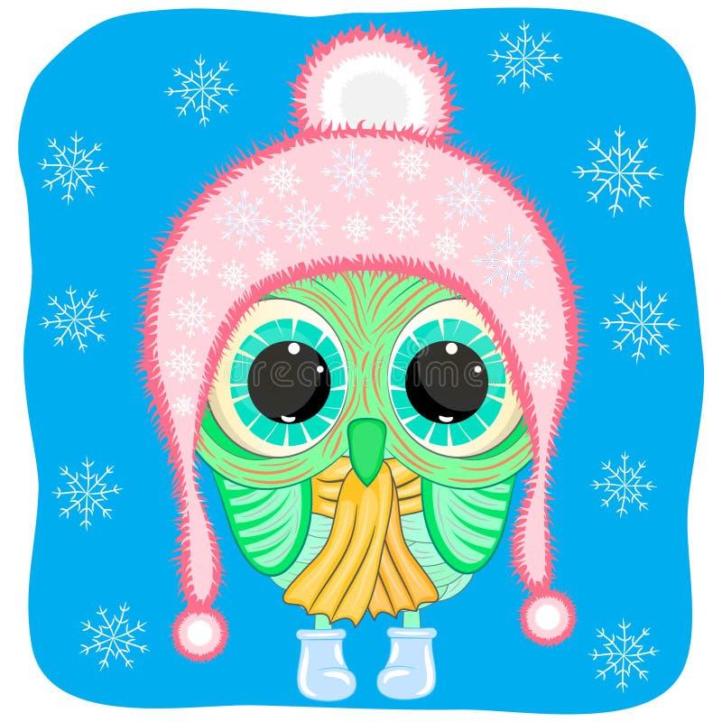 Śliczna kreskówki sowa w zimie odziewa royalty ilustracja