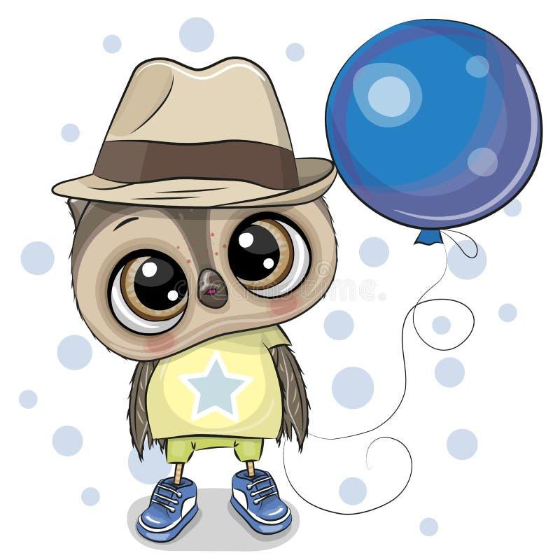 Śliczna kreskówki sowy chłopiec z balonem royalty ilustracja