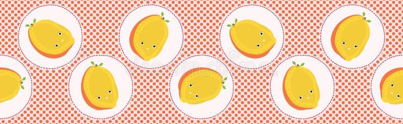 Śliczna mangowa owocowa polki kropki wektoru ilustracja Bezszwowy wielostrzałowy granica wzór ilustracja wektor