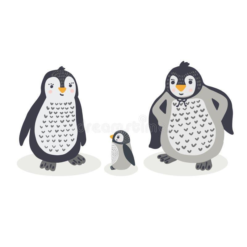 Śliczna rodzinna wektorowa ilustracyjna ręka rysujący kreskówka pingwinu kawaii zwierzę royalty ilustracja