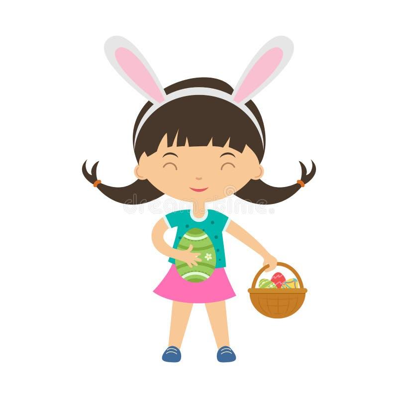 Śliczna roześmiana dziewczyna z królików ucho stoi dużego ozdobnego kosz z jajkami i trzyma jajko i ilustracji