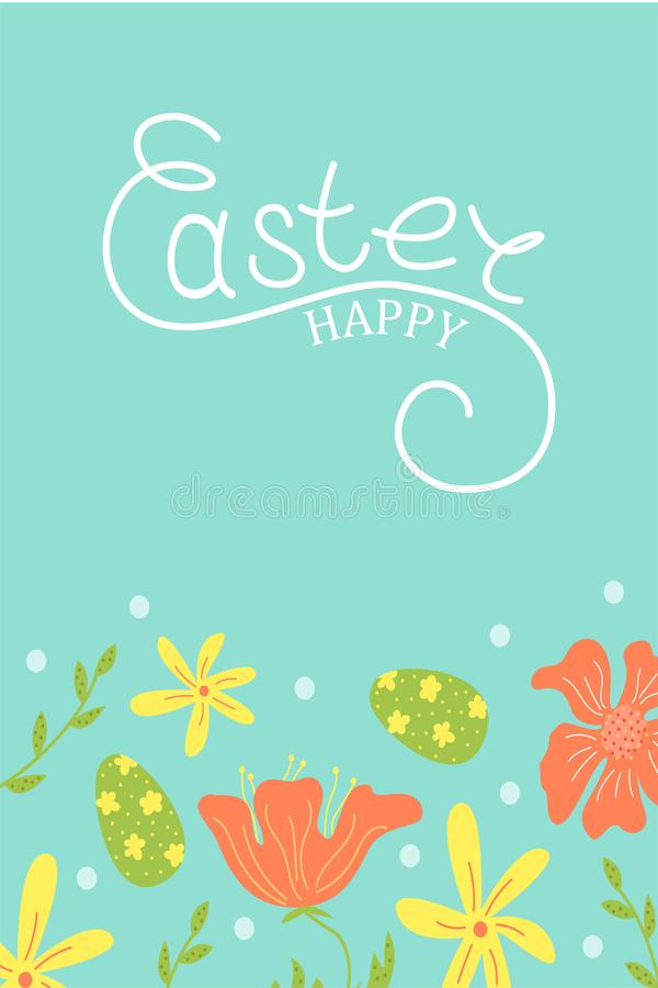 Śliczna wektorowa Wielkanocna karta Wielkanocni jajka, wiosna wakacje 2007 pozdrowienia karty szczęśliwych nowego roku wielkanoc  ilustracji