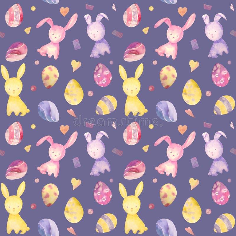 Ślicznego dziecka Easter królika bezszwowy wzór, ilustracja dla dzieci odziewać Akwareli ręka rysująca royalty ilustracja