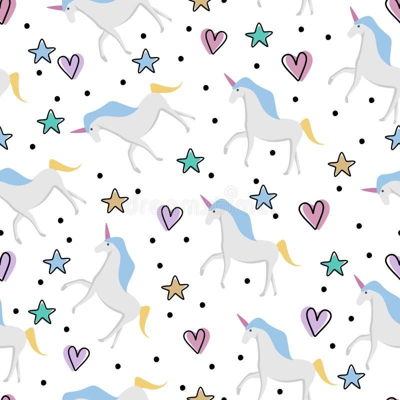 Ślicznego jednorożec bezszwowego deseniowego dziecka śliczna wektorowa ilustracja dla dzieciaków i dzieci mody tkaniny gotowej dl royalty ilustracja