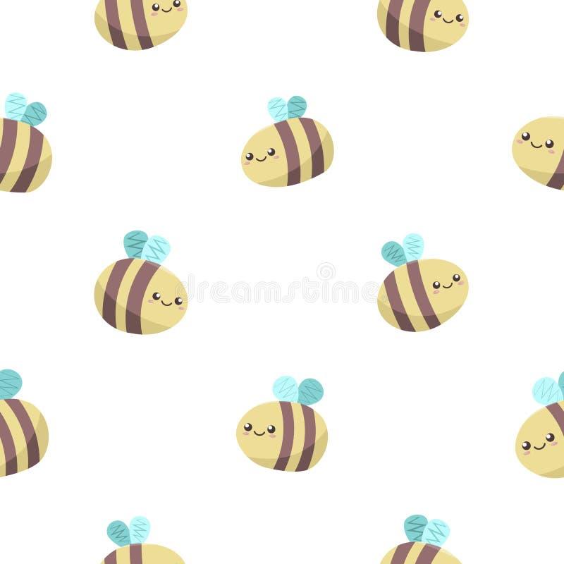 Ślicznego kawaii miodowe pszczoły latają na białym tle, bezszwowy wektoru wzór ilustracji