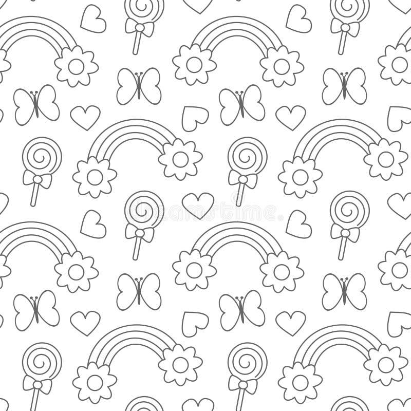 Ślicznej kreskówki czarny i biały tęcze z stokrotka kwiatami, lizakami, sercami i motyla tła bezszwową deseniową wektorową bolącz ilustracja wektor