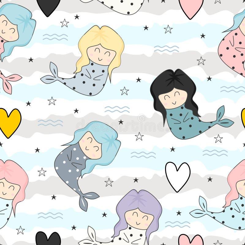 Ślicznej syrenki dziecięcej rysunkowej kolorowej kreskówki bezszwowy deseniowy tło dla dzieciaków i dziecko mody tkaniny gotowej  ilustracja wektor