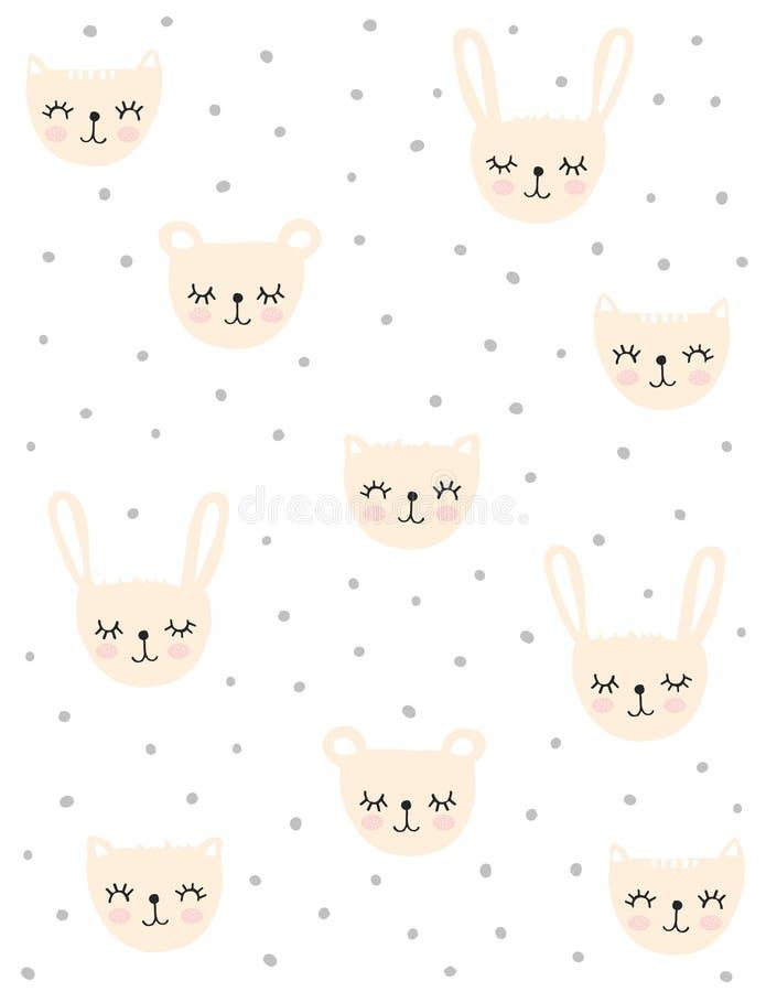 Śliczni Partyjni wektorów wzory Z Beżowymi kotami, królikami i niedźwiedziami, ilustracji
