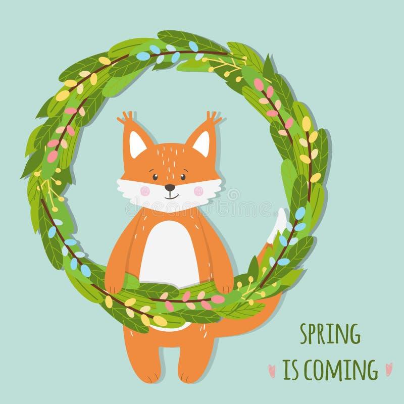 Śliczny śmieszny pomarańczowy lisa zwierzę w kwiecistym wiosna wianku royalty ilustracja