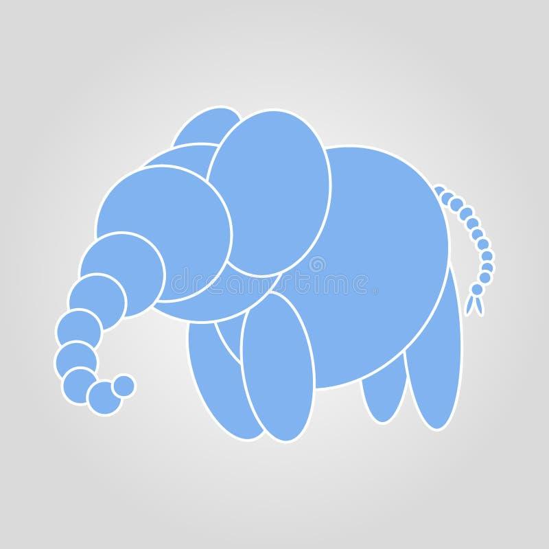 Śliczny błękitny słoń na szarej tło ilustracji ilustracji