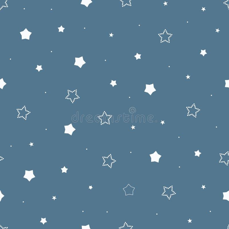 Śliczny bezszwowy rocznika błękita wzór z kreskówek gwiazdami i kropkami zarysowywającymi i kropkującymi ilustracja wektor