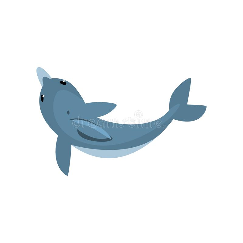Śliczny delfin kreskówki Dennego zwierzęcia charakteru dopłynięcie, Przegląda Z Góry Wektorową ilustrację ilustracji