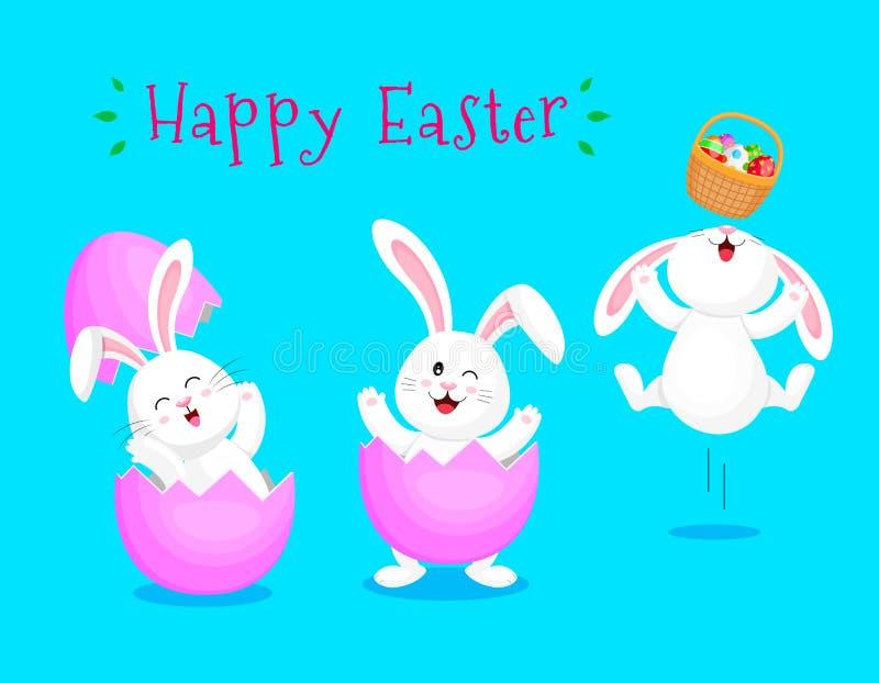 Śliczny kreskówka królika łupanie od jajecznej skorupy ilustracja wektor