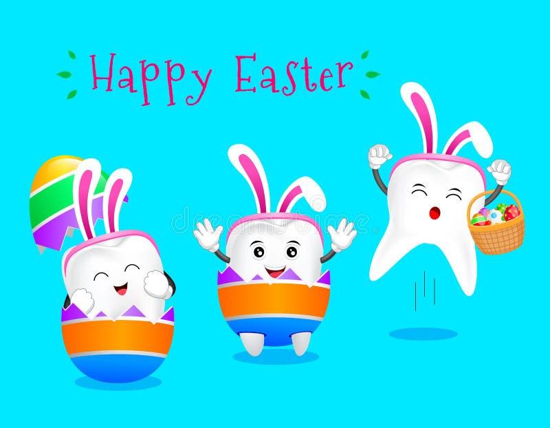 Śliczny kreskówka królika zębu łupanie od jajecznej skorupy ilustracji