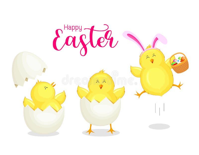 Śliczny kreskówka kurczaka łupanie od jajecznej skorupy jest ubranym Wielkanocnego królika ucho ilustracji