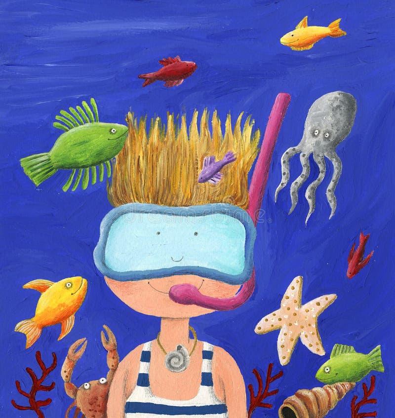 Śliczny Little Boy pikowanie w oceanie ilustracja wektor
