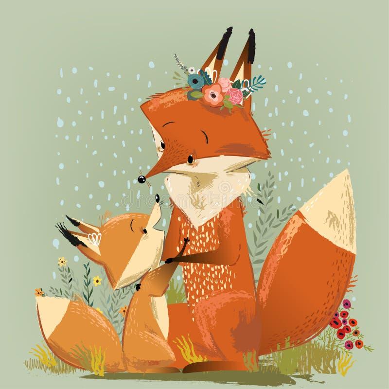 Śliczny mama lis z jej dzieciakiem również zwrócić corel ilustracji wektora ilustracja wektor