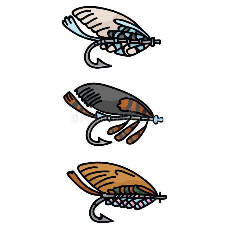 Śliczny połowu nęcenie i sprzęt kreskówki motywu wektorowy ilustracyjny set patroszona rybia ręka ilustracji