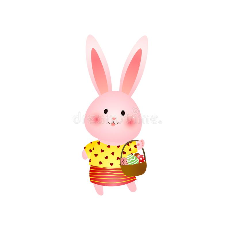 Śliczny różowy Easter królik z koszem jajka odizolowywający na białym tle ilustracja wektor