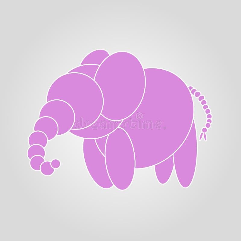 Śliczny różowy słoń na szarej tło ilustracji ilustracja wektor