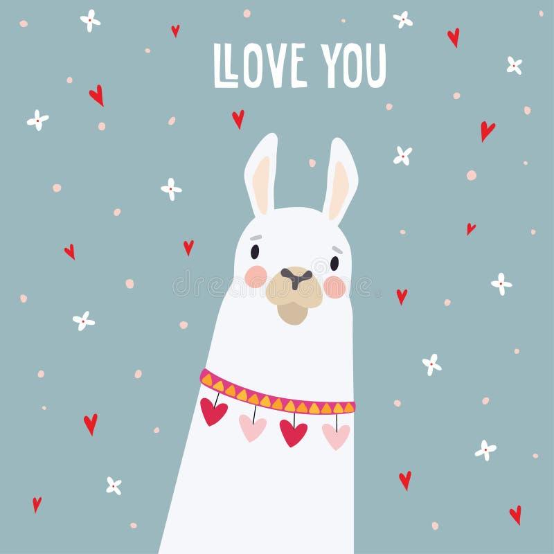 Śliczny urodziny lub walentynka dzień kartka z pozdrowieniami, zaproszenie Ręka rysujący biały lamy zwierzę z spada sercami i kwi royalty ilustracja