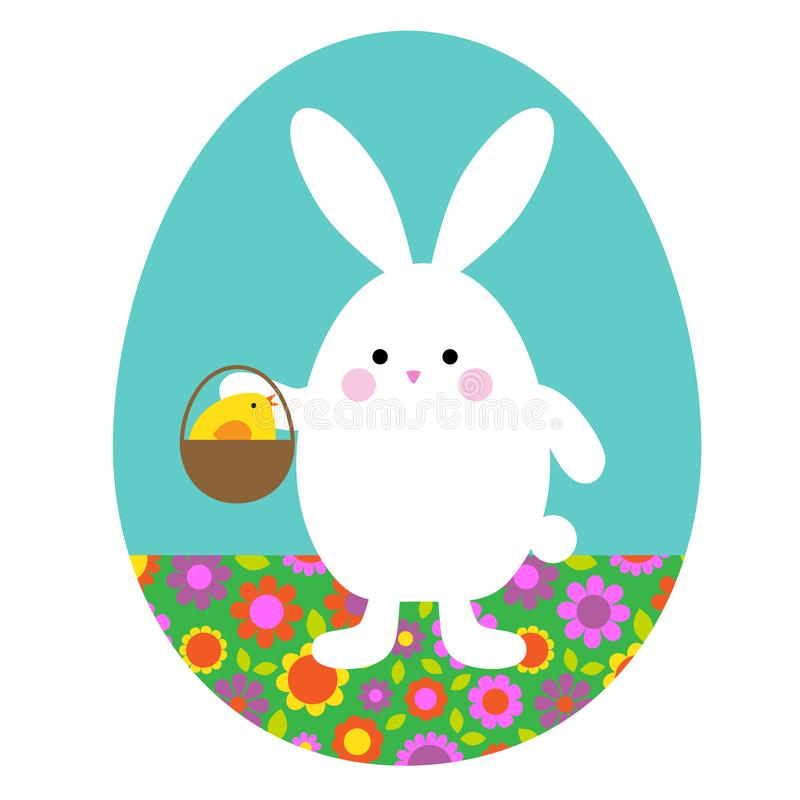 Śliczny Wielkanocnego królika mienia kosz z ślicznym dziecka kurczątkiem ilustracji