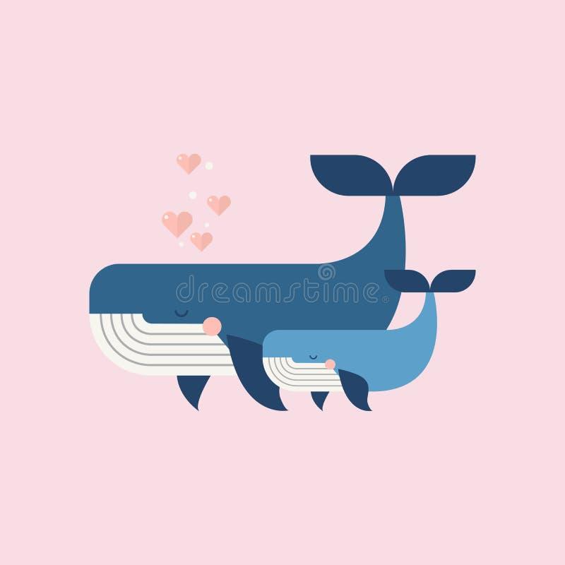 Ślicznych wielorybów matek Szczęśliwy dzień royalty ilustracja