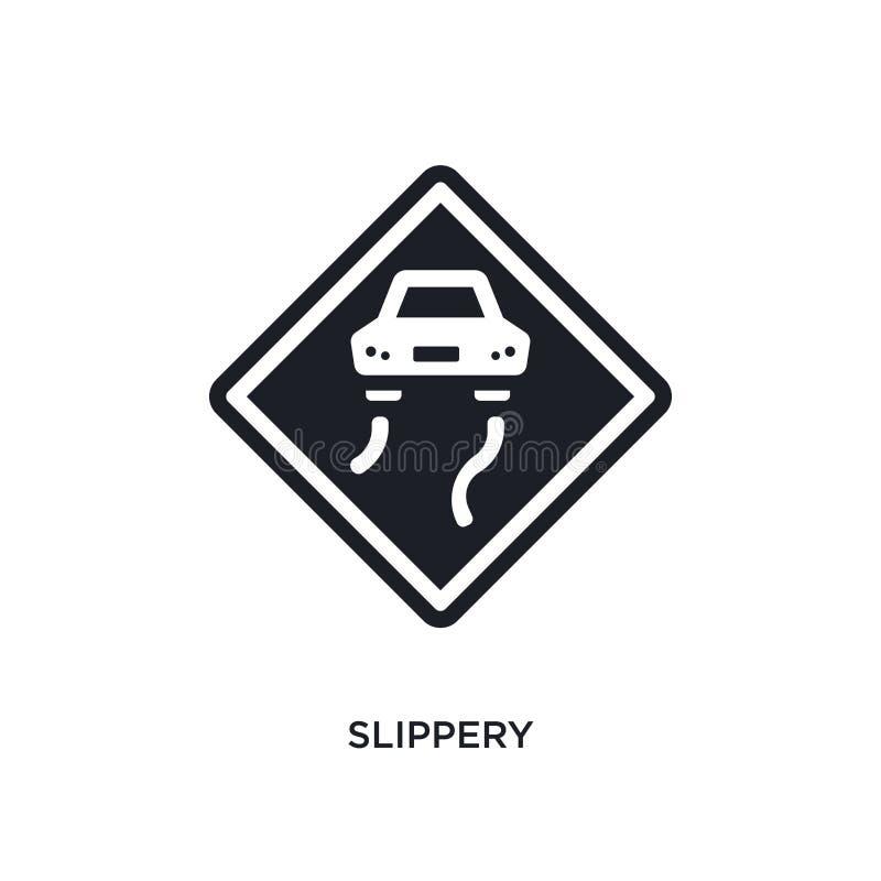 śliska odosobniona ikona prosta element ilustracja od ruchów drogowych znaków pojęcia ikon śliski editable logo znaka symbolu pro ilustracja wektor