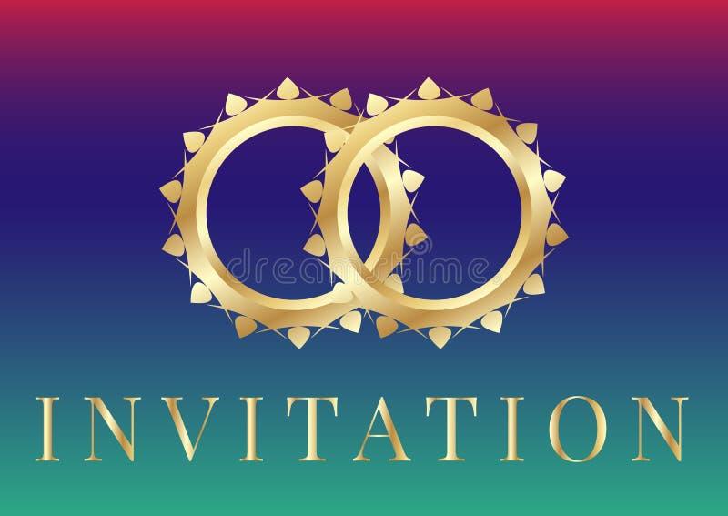 Ślubni zaproszenie karty szablony z złotymi obrączkami ślubnymi dalej iryzują tło ilustracja wektor