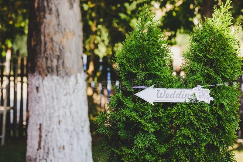 Ślubny podpisuje wewnątrz las fotografia stock