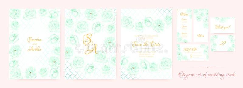 Ślubny zaproszenie, karta szablony Ustawiający ilustracji