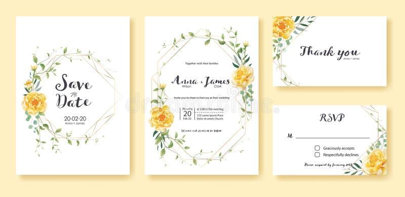 Ślubny zaproszenie, save datę, dziękuje ciebie, rsvp karcianego projekta szablon wektor Żółty kwiat, srebny dolar, oliwni liście, ilustracji