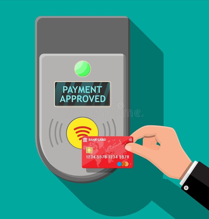 Śmiertelnie i bank karta w ręce ilustracja wektor