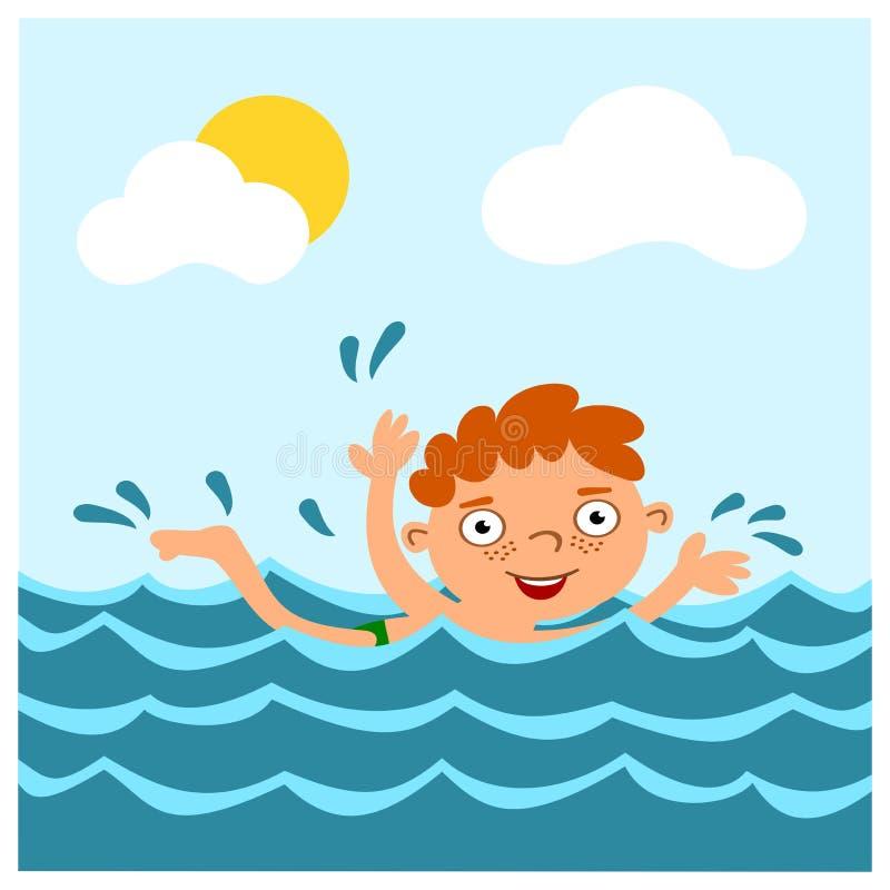 Śmieszna chłopiec w kreskówka stylu pływa w morzu w lecie zdjęcia royalty free