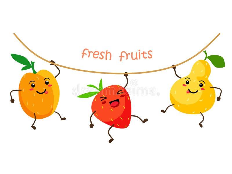 Śmieszna i śliczna owocowa kawai morela truskawka i bonkreta, wieszamy na arkanie Wektorowa ilustracyjna Świeża kawaii owoc na bi royalty ilustracja