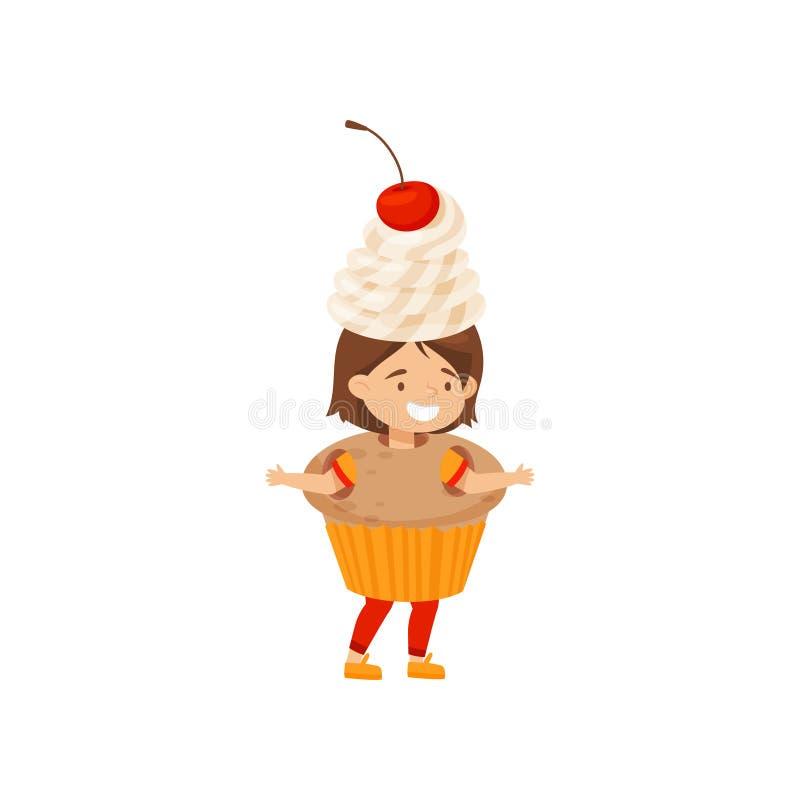 Śmieszna mała dziewczynka ubierał jako babeczka z batożącą wiśnią i śmietanką kostiumowy śliczny przekąska cukierki Płaski wektor ilustracja wektor