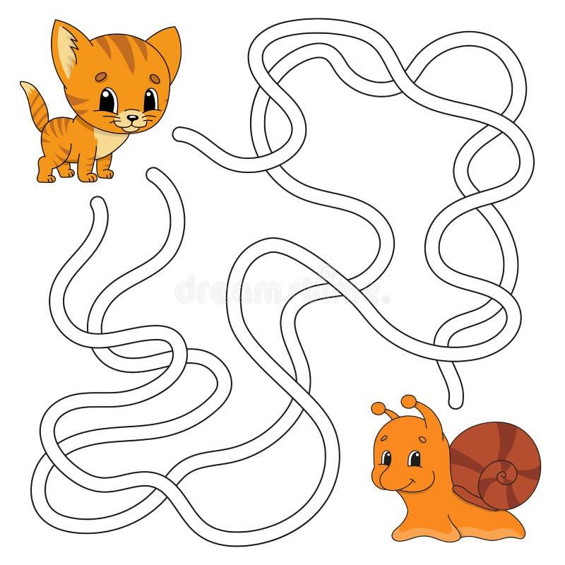 Śmieszny labirynt gemowi dzieciaki Łamigłówka dla dzieci Kreskówka styl Labitynt zagadka kolor plażowej dziewczyny ilustracyjny m ilustracja wektor